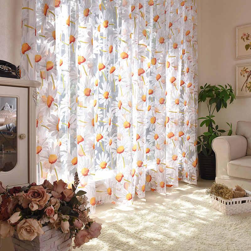 Hoa Mặt Trời Voan Rèm Cửa Cho Phòng Khách Phòng Ngủ Nhà Bếp Màu Vàng Họa Tiết Hoa Voan Sheer Màn Cho Cửa Sổ Điều Trị Drap Màn