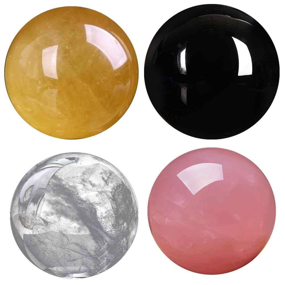 3 ซม.ใสคริสตัลควอตซ์คริสตัลบอลทรงกลมสีดำ Obsidian คริสตัลบอลทรงกลมตกแต่งบ้านหัตถกรรม 4 สีจัดส่ง