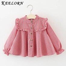 Keelorn/новая весенняя хлопковая рубашка в клетку с длинными рукавами для маленьких девочек детская одежда детские топы с отложным воротником, детская блузка, рубашка, От 0 до 2 лет