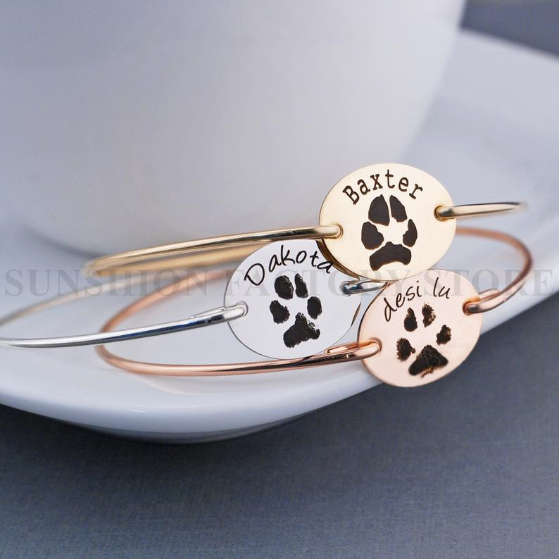 Actual 925 Sterling Silver <font><b>Dog</b></font> Cat Paw Nose Print <font><b>Bracelet</b></font>,Engraved Memorial Loss,Pet Lover Adoption,<font><b>Dog</b></font> Cat Print Bangle image
