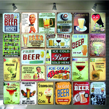 Cocktail Tin Signs Drink Metal Plate  Wall Pub Shop Restaurant Cafe Home Art Decor Vintage Iron Poster Cuadros 5691A
