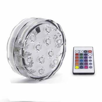 10LED RGB LED Underwater Light Pond Submersible IP67 Waterproof Swimming Pool Light Battery Operated For Wedding Party - 1 Remote 1 Light