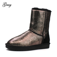 Top Quality New Arrival 100% Genuine Cowhide Snow Boots Natural Fur Women Boots Fashion Winter Warm Mid-calf Leather Boots mylrina top quality genuine sheepskin leather natural fur snow boots 100% real wool non slip new fashion waterpoof women boots
