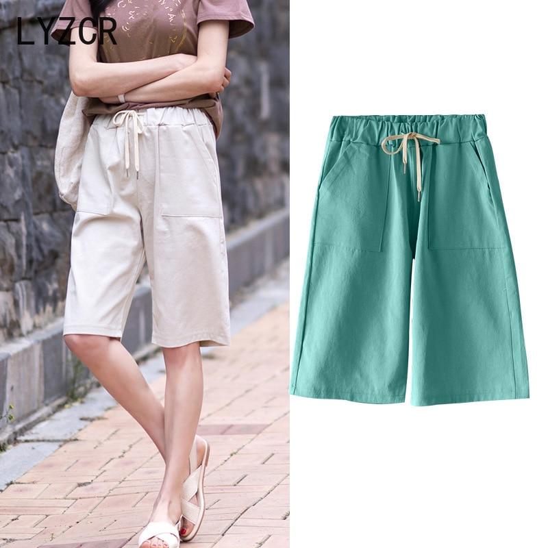 LYZCR High Waist Women Capris Pants Summer Plus Size 5XL Knee Length Pants For Women Loose Wide Leg Pants Female Trousers 2020