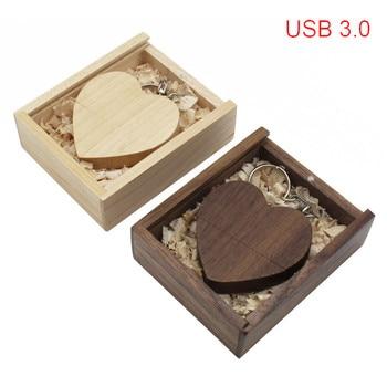 TEXT ME maple wood Walnut heart +box model usb3.0 32GB usb flash drive usb3.0 pendrive 4GB 8GB 16GB LOVE  gift give gril