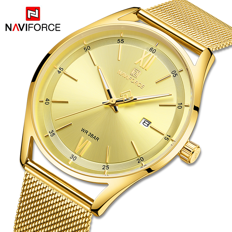 NAVIFORCE Couple Watches Luxury Brand Gold Wristwatch For Men And Women Waterproof Lover's Quartz Clock Male Relogio Masculino