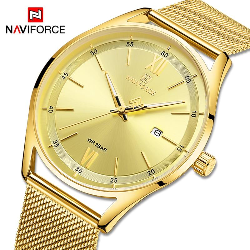 NAVIFORCE Couple Watches Luxury Brand Gold Wristwatch For Men And Women Waterproof Lover's Quartz Clock Male Relogio Masculino