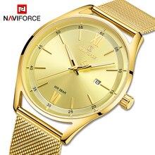 NAVIFORCE Couple Watches Luxury Brand Gold Wristwatch For Men and Women Waterpro