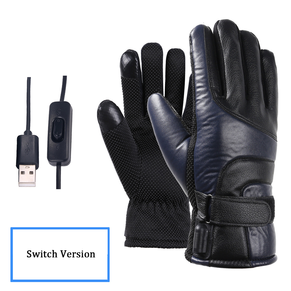 Winter Hiking Windproof Electric Heated Gloves Hand Warmer Rechargeable Waterproof PU Leather Motorcycle Outdoors Climbing Adult