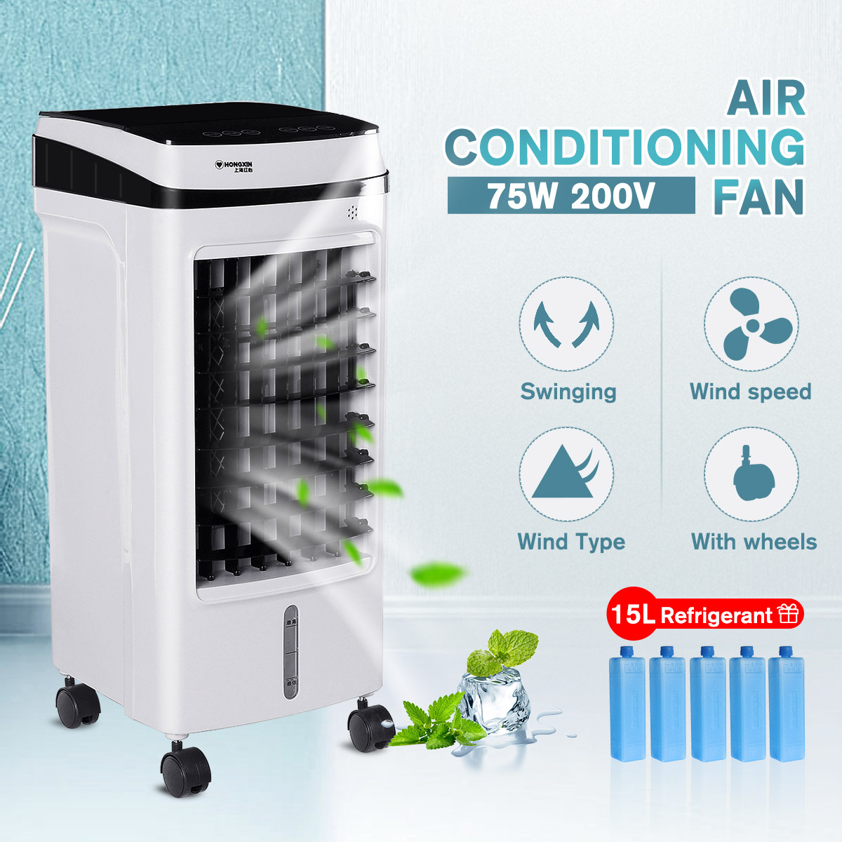 220V Portable Air Conditioner 75W Conditioning Fan Humidifier Cooler 15L Tank Cooling Timed 3 Fan Modes Cooling Fan Humidifier