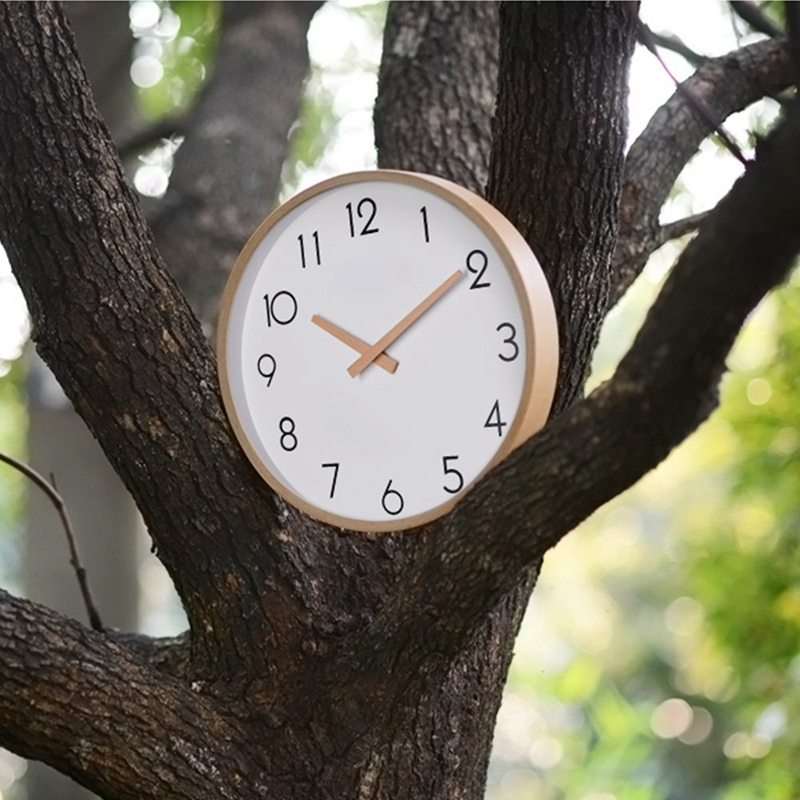 Fashion-Wall Clock Wood 12 Inch Silent Large Wood Wall Clocks Digital Wall Clock Non Ticking For Night Table Kitchen Office Vint