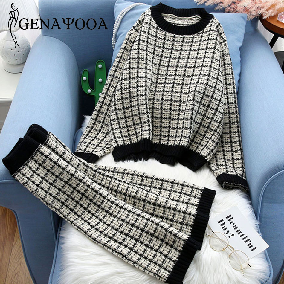 Genayooa Ladies 2 Piece Suits Plaid Two Piece Set Top And Skirt Suit Pink Long Sleeve Elegant Knitted Suit Set Sweater Women