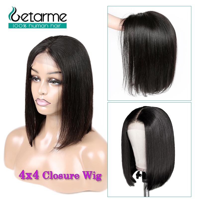 4x4 Closure Wig Peruvian Short Bob Wigs Lace Closure Human Hair Wigs For Black Women Straight Lace Wig Pre Plucked Non Remy Hair