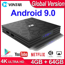 Android 9.0 TV BOX T9 กล่องสมาร์ททีวี 4K Quad Core Media Player 4GB RAM 32GB/64GB ROM H.265 2.4G/5G WIFI USB 3.0 TVbox ชุดกล่องด้านบน