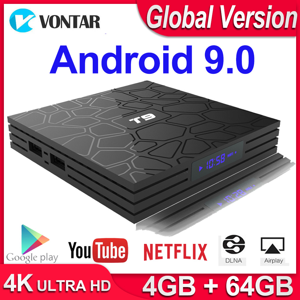 Android 9.0 TV BOX T9 Smart TV Box 4K Quad Core Media Player 4GB RAM 32GB/64GB ROM H.265 2.4G/5G WIFI USB 3.0 TVbox Set Top Box-in Set-top Boxes from Consumer Electronics