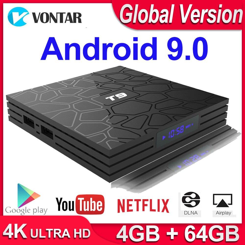 Android 9,0 caja de TV T9 Smart TV BOX 4K reproductor multimedia Quad Core 4GB RAM 32 GB/ 64GB ROM H.265 2,4G/5G WIFI USB 3,0 TVbox Set Top Box