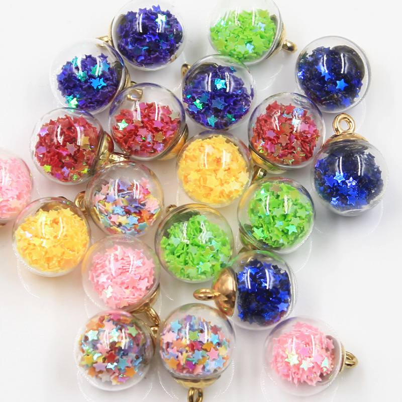 20pcs Charms Star Sequins Transparent Glass Ball 15mm Pendants Crafts Making Findings Handmade Jewelry DIY for Earrings Necklace 1