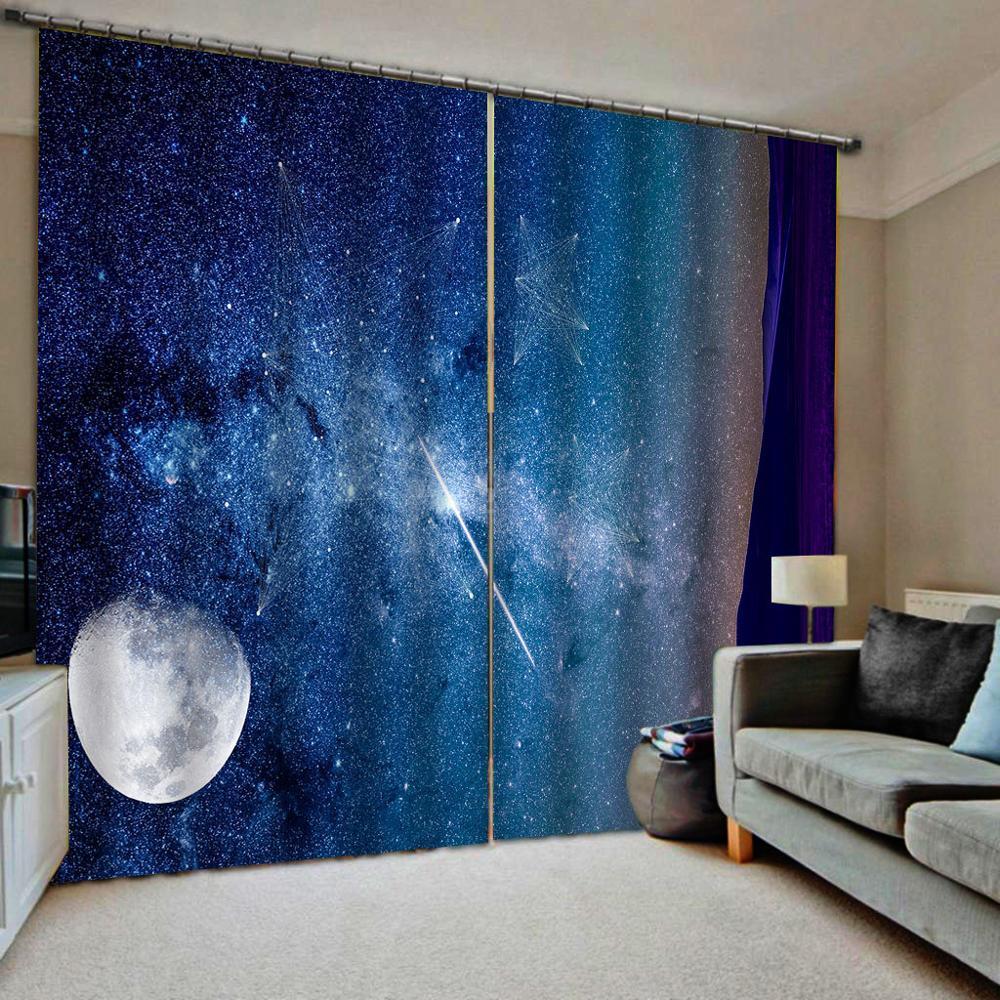 High quality custom 3d curtain fabric  Luxury Blackout 3D Window Curtain For Living Room blue curtains star curtain