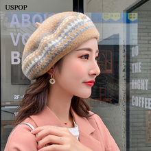 USPOP 2019 New women wool berets fashion thick winter hats female adjustable geometric jacquard beret hat