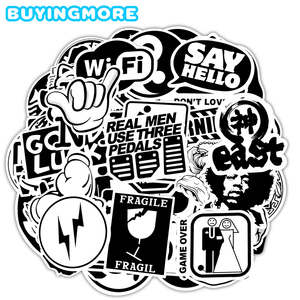 100 PCS Transparent Black and White Stickers for Laptop Skateboard Car Guitar Suitcase Bike DIY Cool Brand Rock Graffiti Sticker