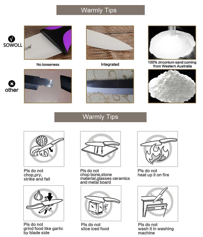 Sowoll 3, 4, 5, 6 Inch Paring Utility Snijden Chef Keramische Mes Black Blade Keukenmessen 4 Stuk Set Vijf Kleuren Voor Keuzes
