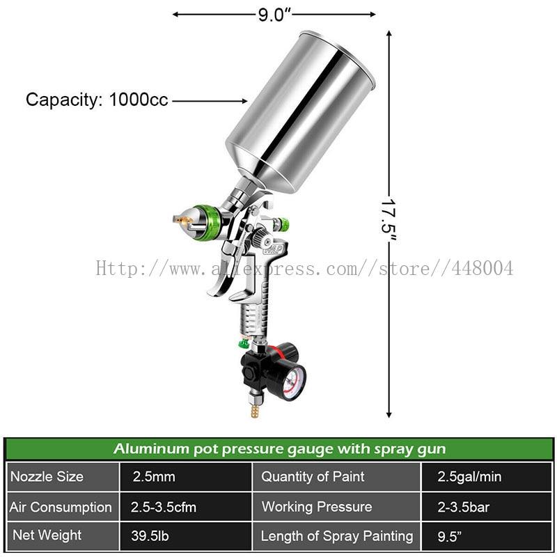 Automotive Spray Gravity 1000CC Professional Cup Paint Gun 5mm Air Spray HVLP Tools Gun 2