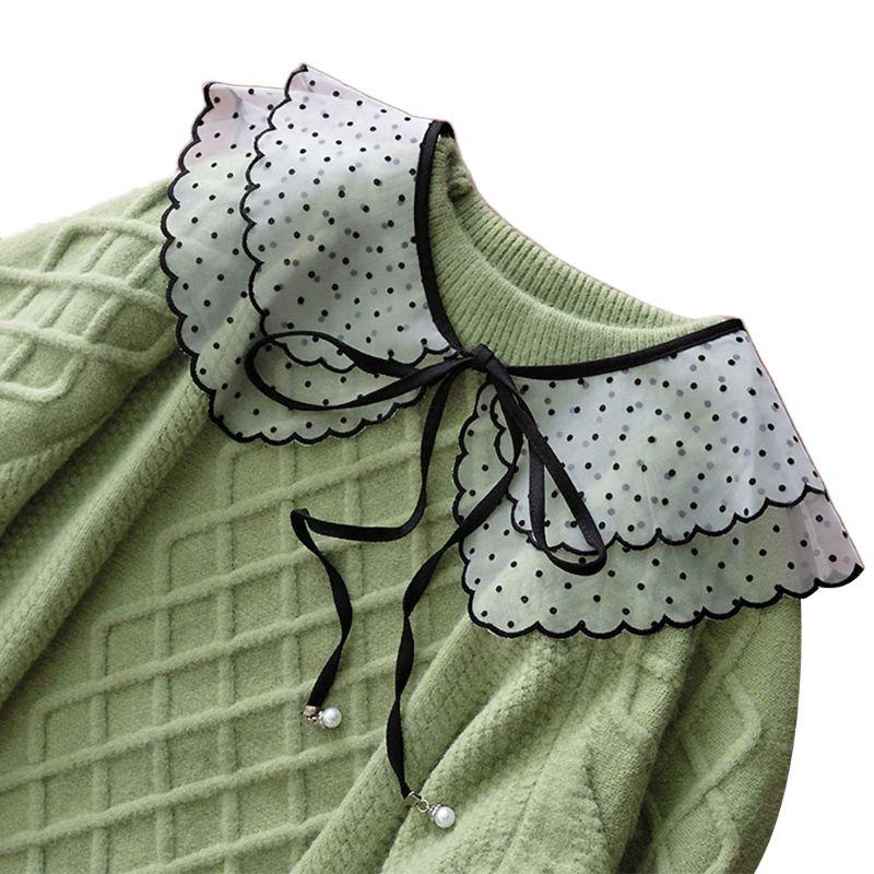 Femmes fille dentelle faux col à pois à fleurs col rond détachable demi-chemise 40JF