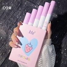 2/5 cor cigarro lábio gloss definido para lábios maquiagem longa duração fosco batons matiz para lábios à prova dwaterproof água copo antiaderente tslm1