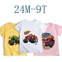Nova manga curta meninas tshirt blaze e o monstro máquinas crianças roupas menino blaze jogo anime camiseta menino ou menina t topo