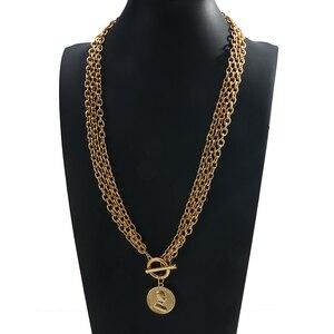 AENSOA Mode Multi-Layered Gold Farbe Kette Halskette für Frauen Vintage Metall Porträt Münze Lange Anhänger Halskette Mode Geschenk