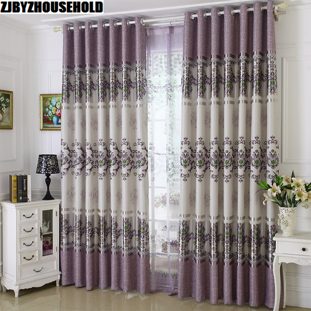 1 PC New Curtains for Living Room European Style Tulle Purple Pink High Shading Sheer Bedroom Door Windows Curtain Drapes