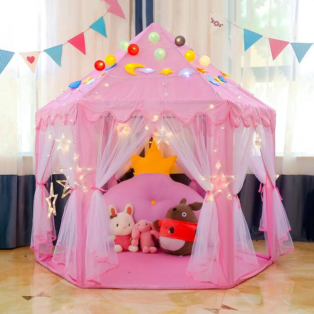 Princess Children's Tent Ball Pool Wigwam Portable Tent For Kids Girl's Castle Playhouse Outdoor Garden Kid Folding Beach Toys