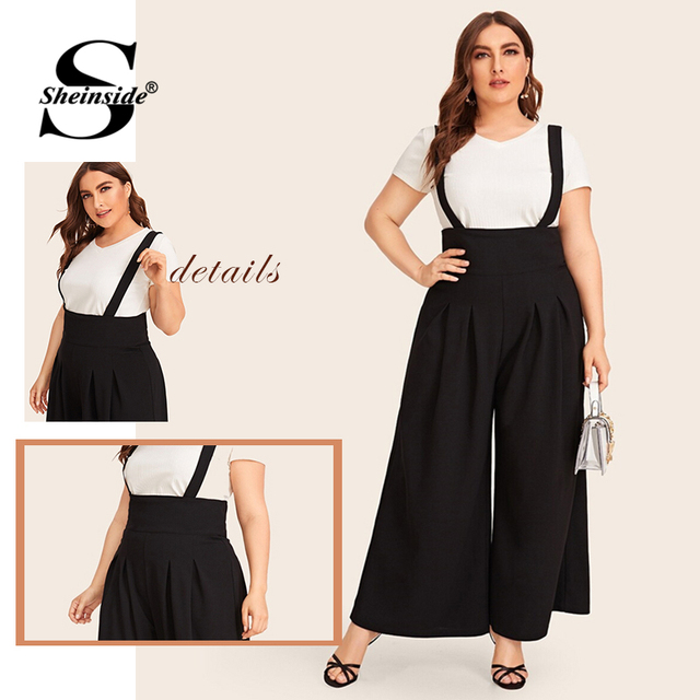 Sheinside Plus Size Zip Back Wide Leg Pinafore Pants Women 2019 Autumn Solid Minimalist Pleated Pants Ladies Casual Trousers 5