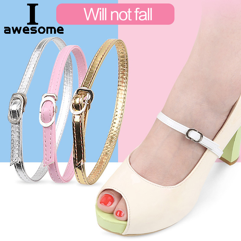Women Shoelaces Adjustable Shoes Belt PU Leather Ankle Tie Strap Band For Locking High Heels Women Beauty Props Shoes Accessorie