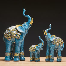 Creative Resin Animal Model Statue Home Decoration Accessories India Style Elephant Figure Office Desk Decorative Wedding Gift