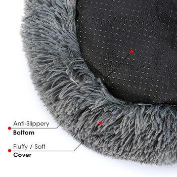 Round Plush Dog Bed House Dog Mat Winter Warm Sleeping Cats Nest Soft Long Plush Dog Basket Pet Cushion Portable Pets Supplies 4
