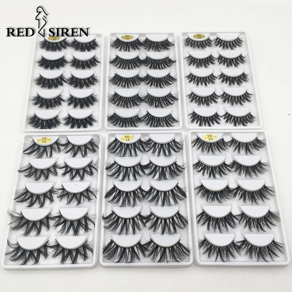 RED SIREN 5 Pairs 25mm Lashes 3D Mink Lashes 18mm-25mm Dramatic Volume Long Fake Lashes Make Up Faux Mink False Lashes Wholesale