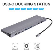 New 14-In-1 Type C Hub USB C to HDMI VGA RJ45 USB 3.0 Ports SD/TF Card Reader USB-C Power Adapter for MacBook Pro With PD