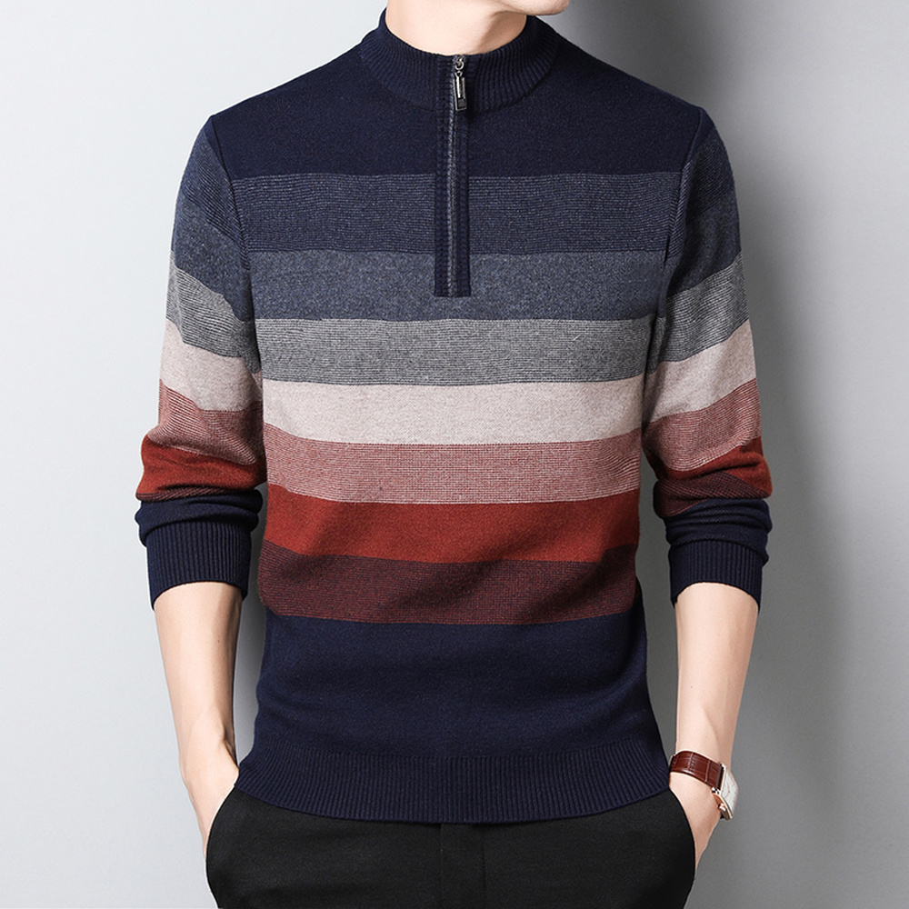 Sweater Business Office Fashion Half-high Collar Zipper Stripe Men Knitted Autumn Winter Casual Simple Pullover Sweaters Man Top