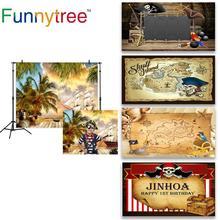 Funnytree Fondo de fotografía de aventura Barco Pirata, árbol de coco, barco de verano, madera, fiesta de cumpleaños, photocall photozone