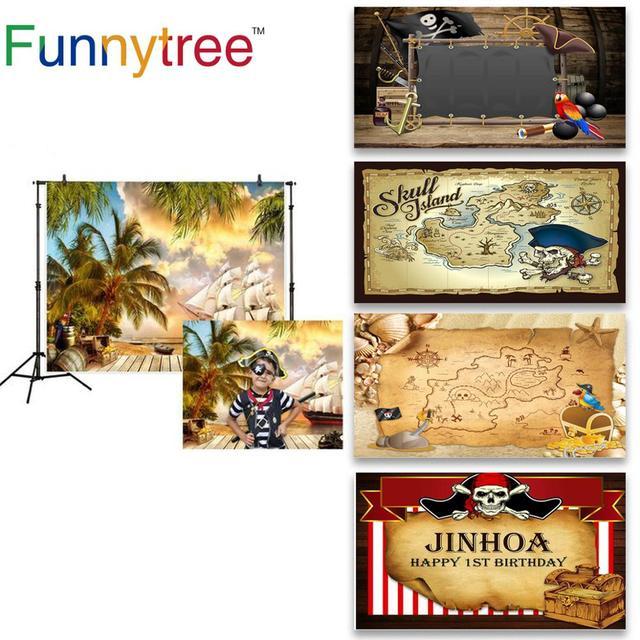 Funnytree הרפתקאות צילום פיראטים רקע סירת קוקוס עץ קיץ ספינה עץ יום הולדת רקע מסיבת שיחת וידאו photozone