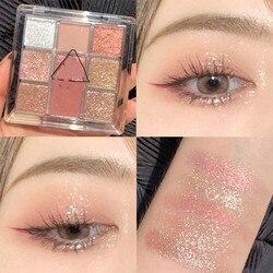 9 Colors Diamond Glitter Eye shadow Palette Matte Sequined EyeShadow Palette Long-lasting Diamond Glitter Metallic Shiny TSLM1