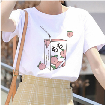 Cartoon milk Juice T Shirt Women Japanses Aesthetic Grunge Harajuku Cute Kawaii white Summer Casual Tumblr Outfit Fashion Tshirt