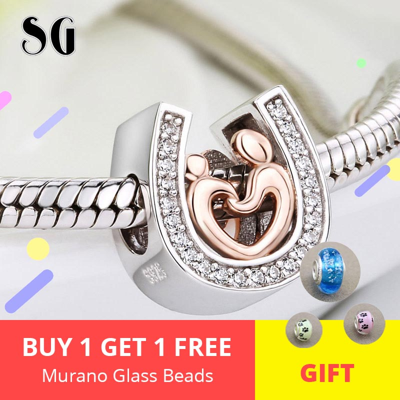 Hot Silver 925 horseshoe Charm Mom and son hand in Beads Fit Original pandora Bracelet pendant DIY Jewelry Mother gifts