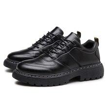 Breathable Men Flat Shoes Lace-up Leather Shoes