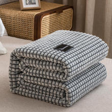 Yellow Plaid for Beds Coral Fleece Blankets Gray Color Plaids Single/Queen/King Flannel Bedspreads Soft Warm Blankets for Bed