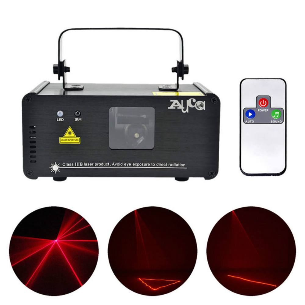 AUCD Mini IR Remote 8CH DMX 100mW Red Laser DPSS Projector Lights Disco DJ Christmas Party Show Beam Scan Stage Lighting DM-R100