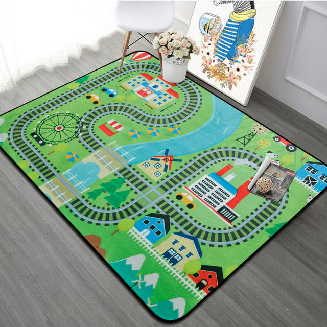 Road Bedroom Carpet Living Room Kids Rug Soft Floor Baby Play Mat Anti-skid Blanket Washable Toys for Children