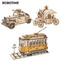 Robotime 3 Arten DIY 3D Transport Holz Puzzle Spiel Montage Vintage Auto Straßenbahn Wagen Spielzeug Geschenk für Kinder Erwachsene