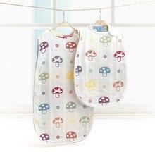 Newborn Baby 6 Layers Gauze Sleeping Bag Stroller Bed Swaddle Blanket Wrap Bedding Soft Children Vest Sleeping Bag Baby 0-12M цена